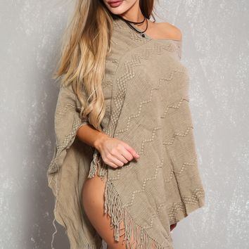 Sexy Taupe Knitted Fringe Hem Loose Fit Poncho
