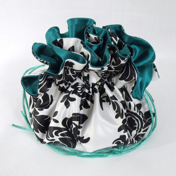 Wedding Bag  Satin Bridal Money Purse Black and White Damask with Emerald Green  No Pockets