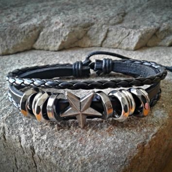 Star Black Leather Adjustable Unisex Leather Weave Wrap Bracelets