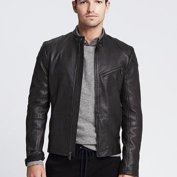 Banana Republic Mens Black Leather Moto Jacket