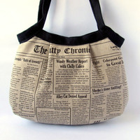 Shoulder bag Neutral Linen canvas Cat Newspaper and Black linen - Made to order