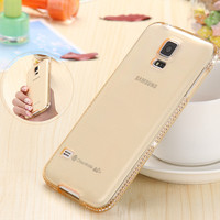 S5 Bling Diamond Rhinestone Crystal Soft Silicone Clear Case For Samsung Galaxy S5 i9600 G900 Luxury Ultra Thin Back Phone Cover
