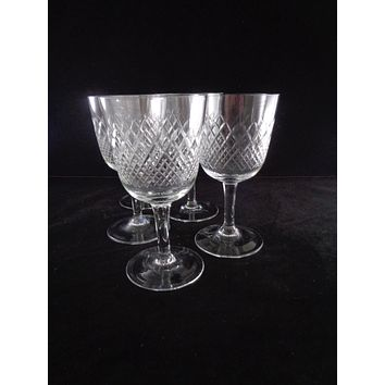Cordial Crystal Goblets With Diamond Pattern S/8