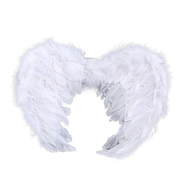 Halloween Angel Wings Stage Fancy Dress Fairy Feather Outfit Costume for Cosplay Masquerade Carnival (White)