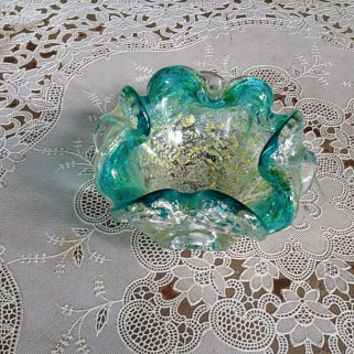 Vintage Murano Teal Blue Glass Fratelli Toso Floraform Gold Foil Ashtray Bowl