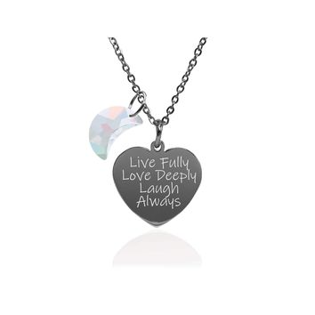 Pink Box Dainty Inspirational Heart Necklace Made With Crystals From Swarovski  - Live Love Laugh