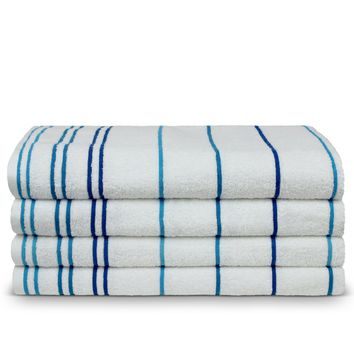 Luxury Hotel & Spa Towel Turkish Cotton Pool Beach Towels - Blue - Striped - Set of 4