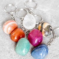 Tumbled Gemstone Keychain