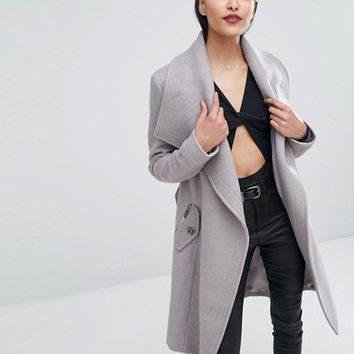 Lipsy Wrap Front Coat at asos.com