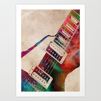 guitar art 7 #guitar #music Art Print by jbjart