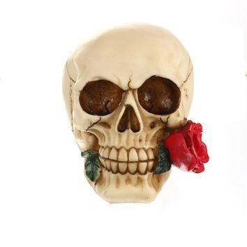 Skull Skulls Halloween Fall Resin  Resin Biting Red Roses Human  Statue Sculpture For Home Decoration Valentine's Day Gifts Calavera