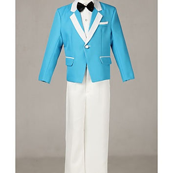 Three Pieces Blue Korean Ring Bearer Suits Boys Tuxedo
