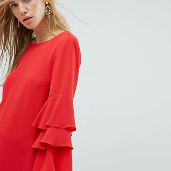 New Look Tiered Ruffle Sleeve Dress at asos.com