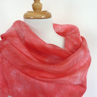 Red Silk Scarf -Large Square Silk Handpainted Scarf in Scarlet Red