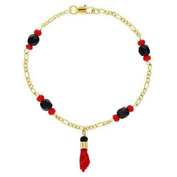 In Season Jewelry 18K Gold Plated Red Figa Hand Amulet Protection Evil Eye Bracelet 65quot