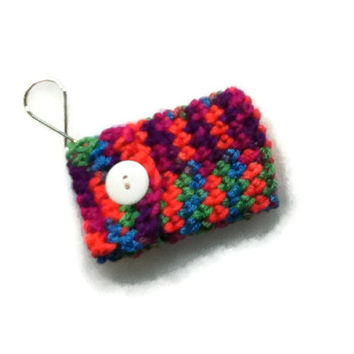 Keychain Pouch - Neon Multicolored - Great Unique way to give money to a teen