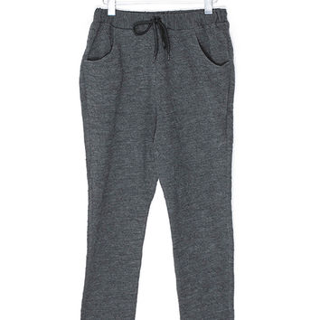 Wool Blend Embossed Tie Sweatpants