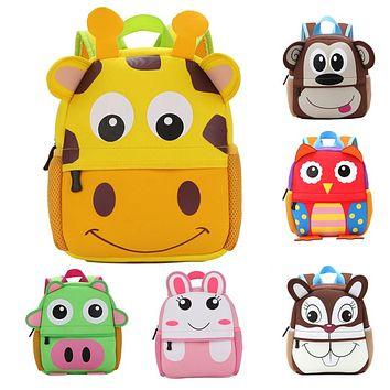 Neoprene Children 3D Cute Animal Backpack Cartoon Infant School Bag Kindergarten Boys Girls School Bags Satchel Mochila