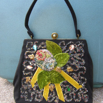 40s Hand Decorated Black Velvet Purse // Vintage Beaded Floral Bag w/ Velvet Leaves and Cross Stitch Petal