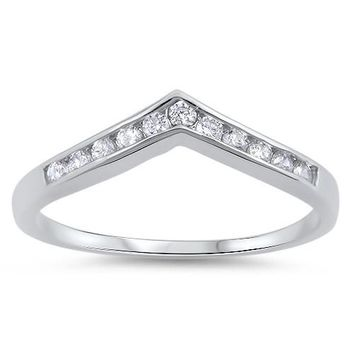 Chevron Midi Half Eternity Sterling Silver Ring (5mm)