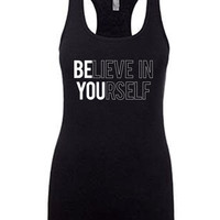Workout Tank For Woman, CrossFit Tank, Running Tank, Tank Top With Saying, Motivation Workout Tank, Fitness Apparel, Believe In Yourself