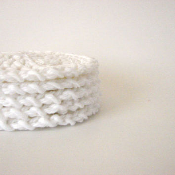 Crochet Face Scrubbies White Reusable Cotton Rounds by MyHobbyShop