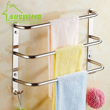Sus304 Stainless Steel Chrome Towel Bar 3 Layers Wall Mounted Towel Racks W/ 2 Hooks Small Bend Bathroom Accessories Sets