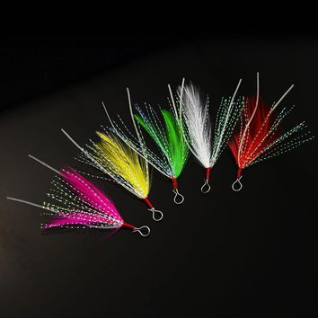 20pcs Feather with Luminous Skirt Tail, Hook Assist for Hardbaits, Jigging Lures, Swimming Jig, Softbaits, Metal Jig