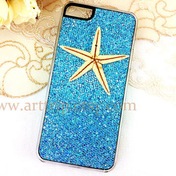 starfish iPhone 5 Case, sky blue iphone case, iphone 5 case, blue sparkle iphone 5 case, resin starfish