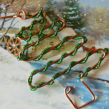 RECYCLED copper wire CHRISTMAS tree ORNAMENT with green seed beads