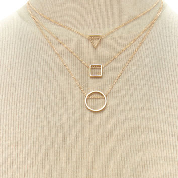 Geo Pendant Necklace Set