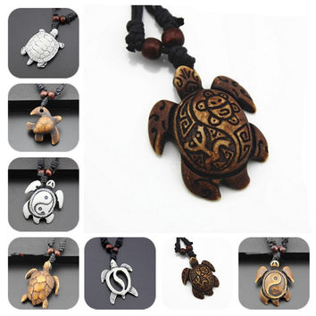New Fashion skull White Brown tortoise Necklaces turtle Pendants For Women Men simulated-bone Vintage Jewelry