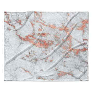 "KESS Original ""Rose Gold Flake"" White Pink Fleece Throw Blanket"
