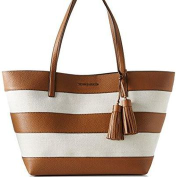 Michael Kors Women's Large Stripe Leather And Canvas Top-Handle Bag Tote