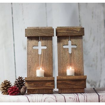 Rustic Wooden Cross Wall Sconce Set