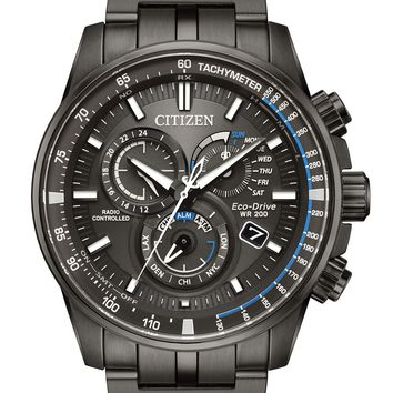 Citizen Eco-Drive Black Stainless Steel Chronograph Watch AT4127-52H