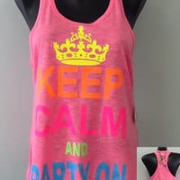 Racer tank w/ laced back- Keep Calm Ans Party On