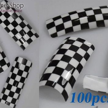 100PCS/Lot Beauty Black White Checkered Design Acrylic Tip False French Nail Tips NEW F311