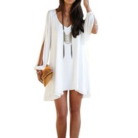 Sannysis(TM) Loose White Sexy Fashion Casual Dress (2)