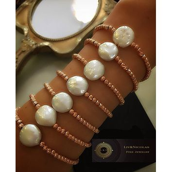 Gold White Mother of Pearl Round Bracelet Italian Beaded 925 Sterling Silver