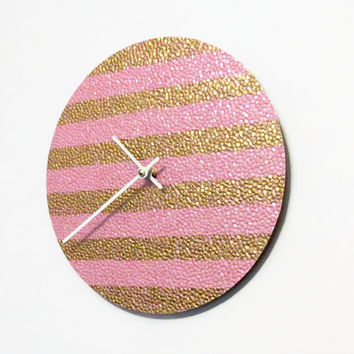 Wall Clock, Pink and Gold Decor,  Decor and Housewares, Home and Living, Home Decor, Small Clock, Unique Wall Clocks,  Unique Gift