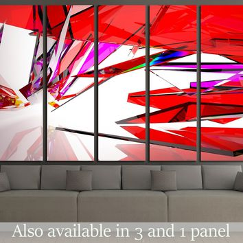 abstract architectural interior with gradient geometric glass sculpture with black lines  №2568