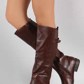 Bamboo Buckled Elastic Gore Riding Knee High Boots
