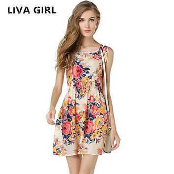Women 's Sleeveless Printing Dresses O-neck Spaghetti Strap Lovely A-line Women Dress Limited time Promotions
