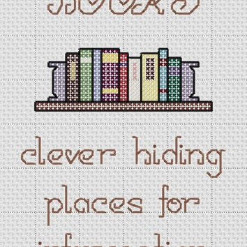 "Funny Cross Stitch Pattern ""BOOKS clever hiding places for information"""