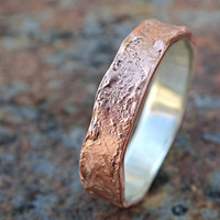 copper ring silver band, mens wedding ring copper, richly structured ring copper promise ring, cool mens ring copper wood grain ring