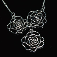 Flower antique silver unique necklace chic women affordable gift