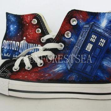 ICIKGQ8 doctor who converse hand painted shoes canvas shoes