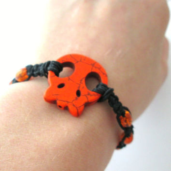 Orange Skull Bracelet Black Hemp Jewelry Mens Hemp Bracelet