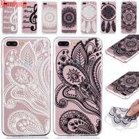 Clear Henna Floral Paisley Mandala Flowers Phone Cases Fundas TPU for iPhone 7 6 6S Plus 5S 5 SE 5C Soft Crystal Rubber Cover